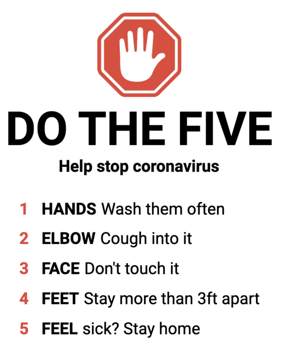 Do the 5 to stop disease spread
